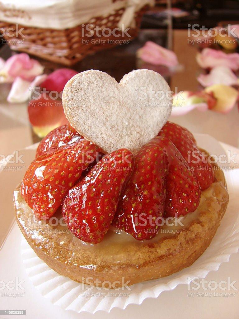 Love strawberry tart royalty-free stock photo