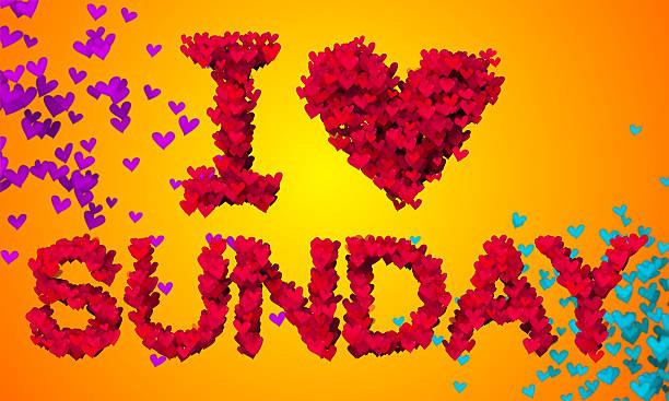 I love Sunday Particles Heart Shape 3D orange background stock photo