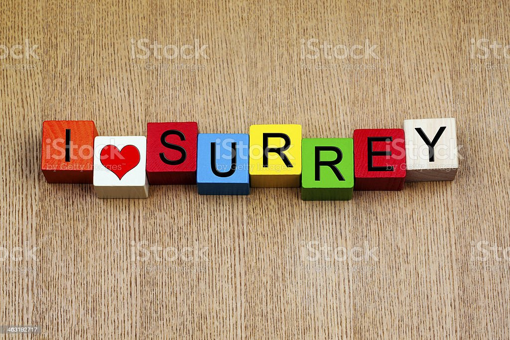 I Love Surrey, England, UK, sign series for English counties stock photo