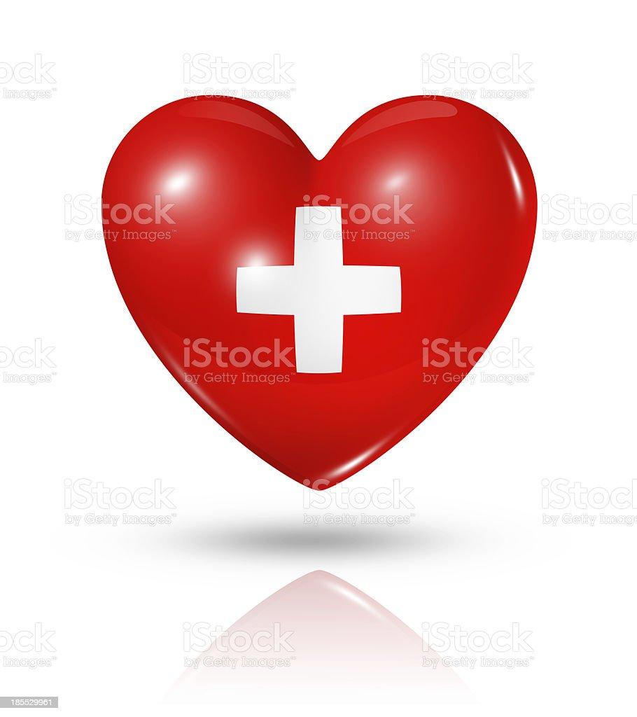 Love Switzerland, heart flag icon stock photo