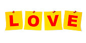 Love Text on Pin Paper
