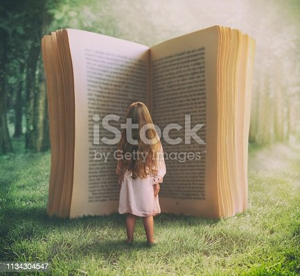 Surreal photo compilation of little girl standing in front of the huge open book in nature.