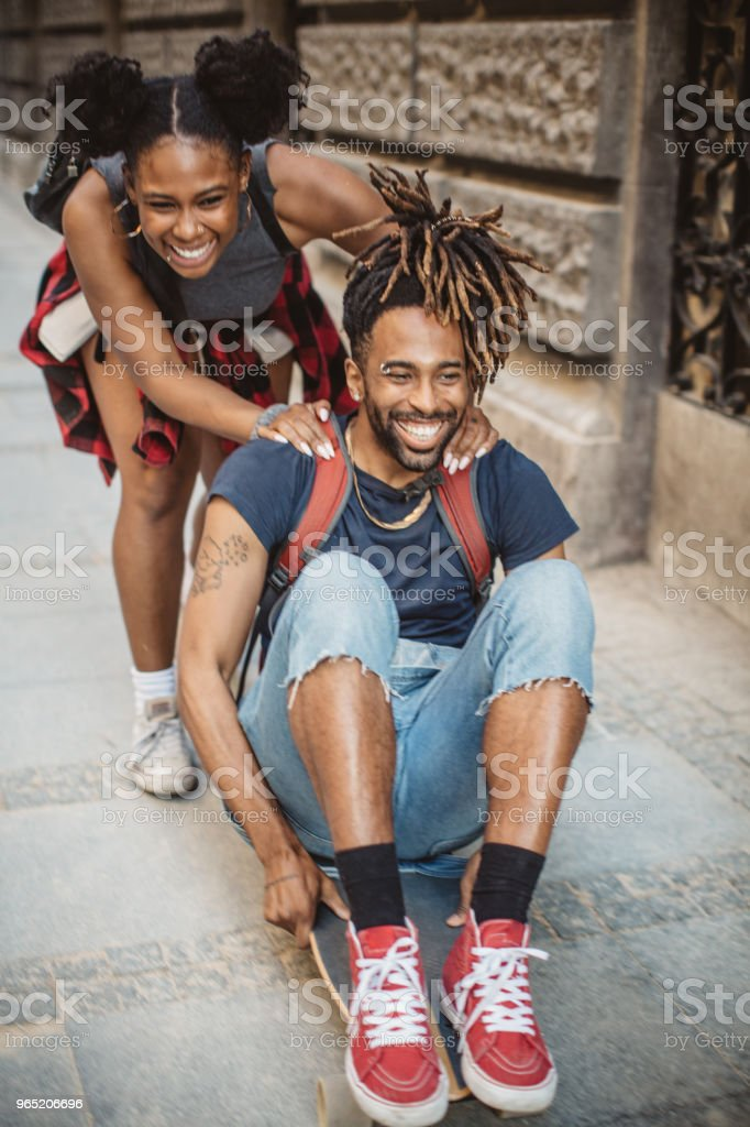 Love to skate together royalty-free stock photo