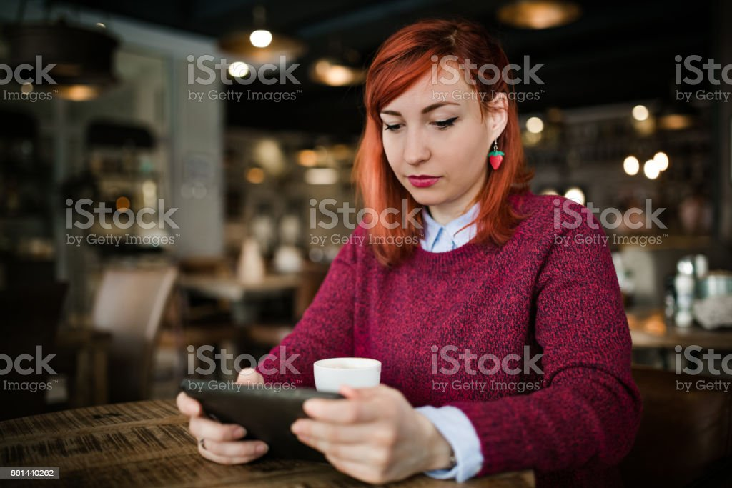 I love to spend time in my favourite coffee place stock photo