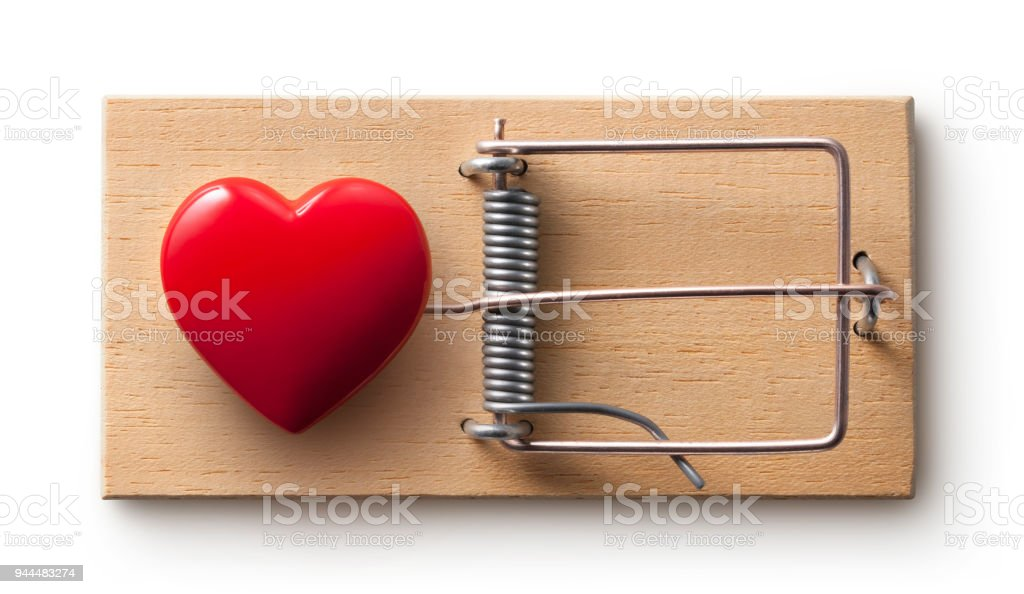 Love trap. Mousetrap with red heart. Photo with clipping path. stock photo