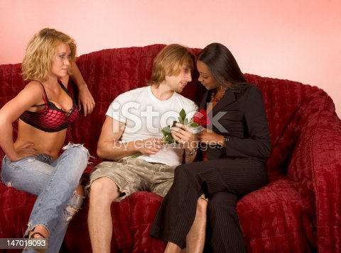 istock Love triangle drama of two girls and one guy 147019093