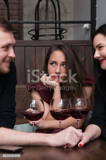 istock Love triangle. Female jealousy for relationship 855996956