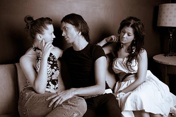 Love triangle stock photo