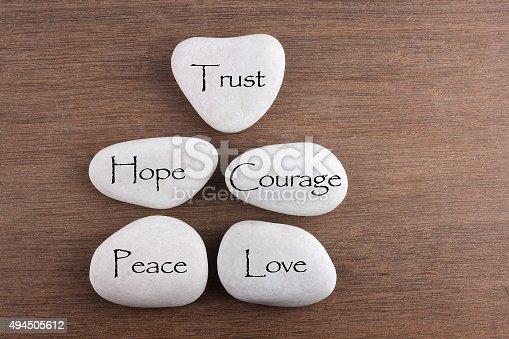 182362845 istock photo love, trust, courage, hope, peace word 494505612