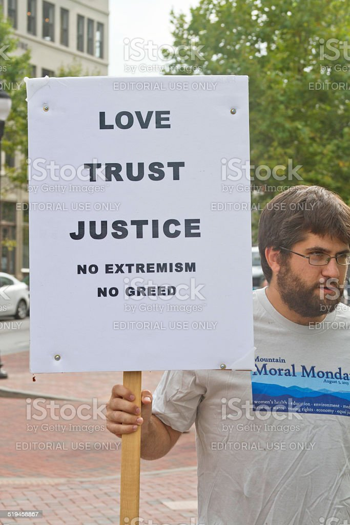 Love, Trust, Justice Sign stock photo
