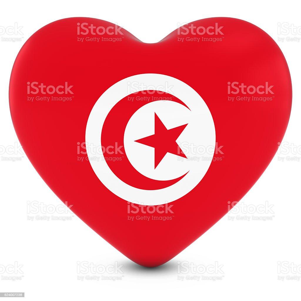 Love Tunisia Concept Image - Heart textured with Tunisian Flag stock photo