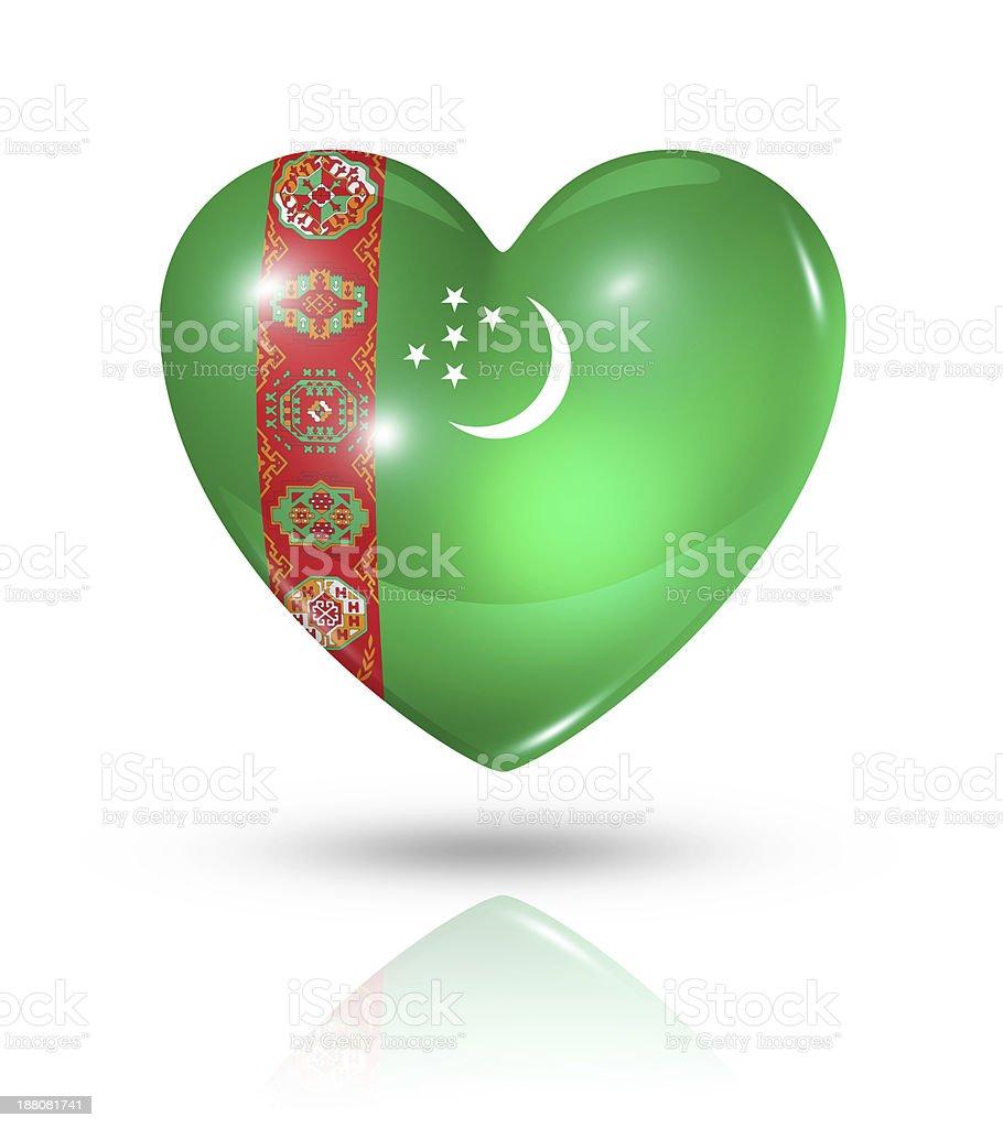Love Turkmenistan, heart flag icon stock photo