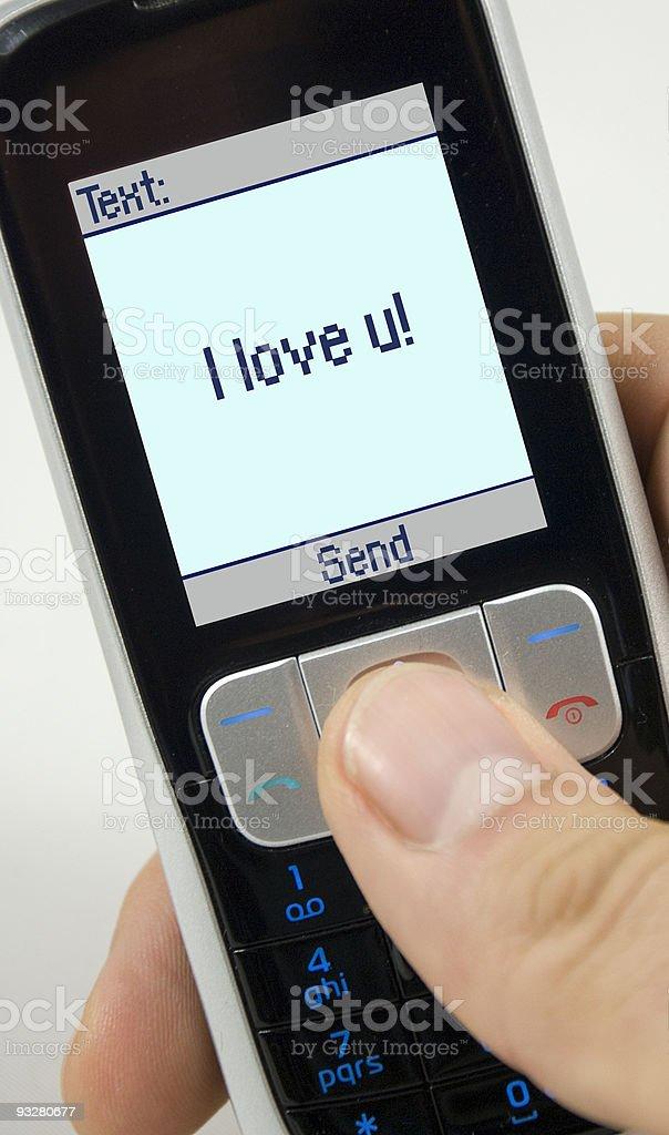 'I love u' sms stock photo