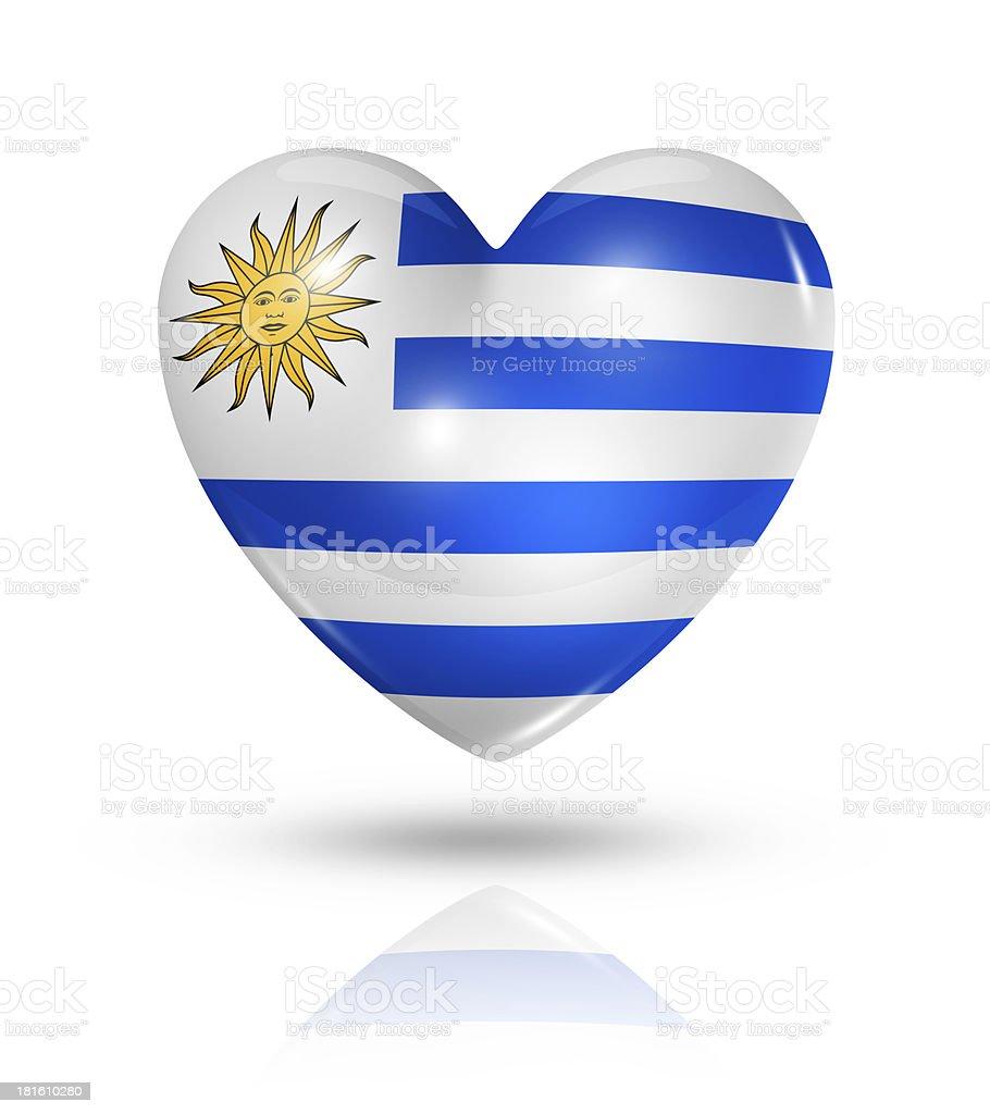 Love Uruguay, heart flag icon stock photo