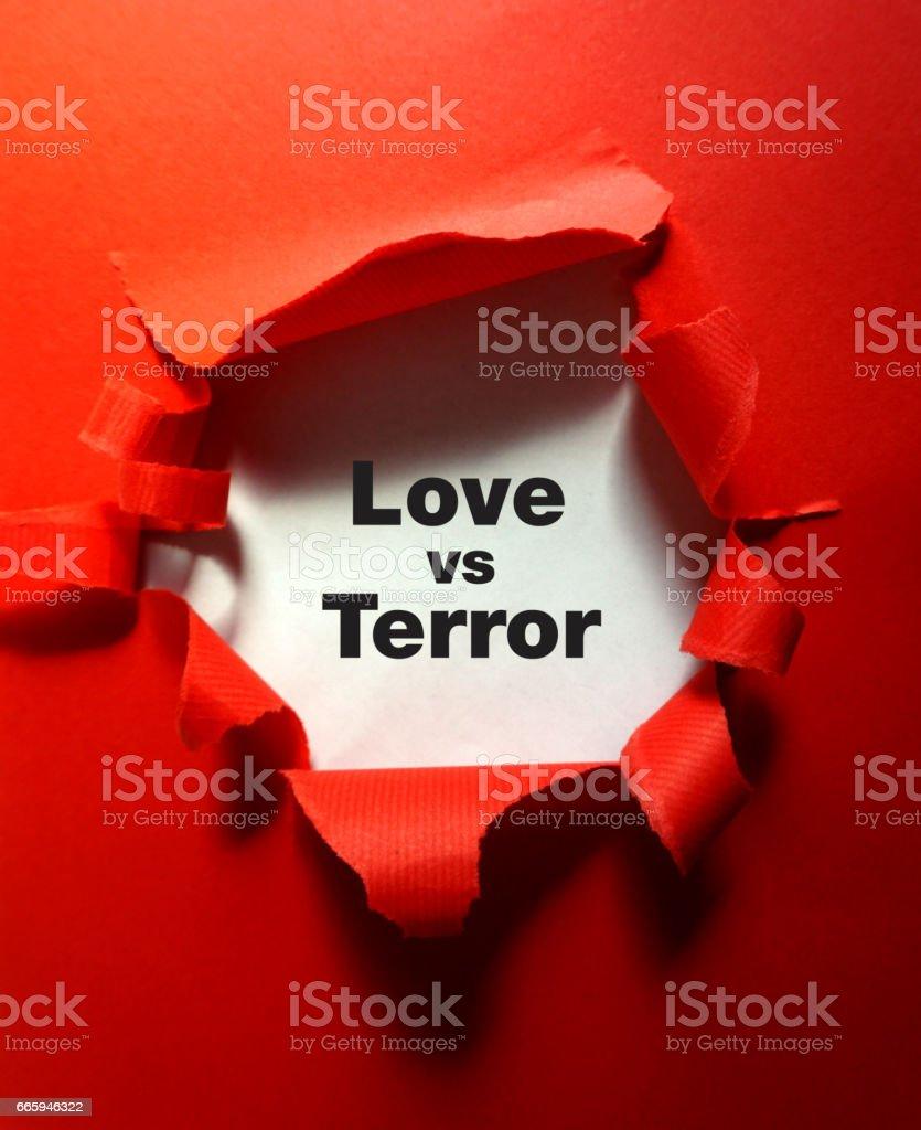 love vs terror stock photo