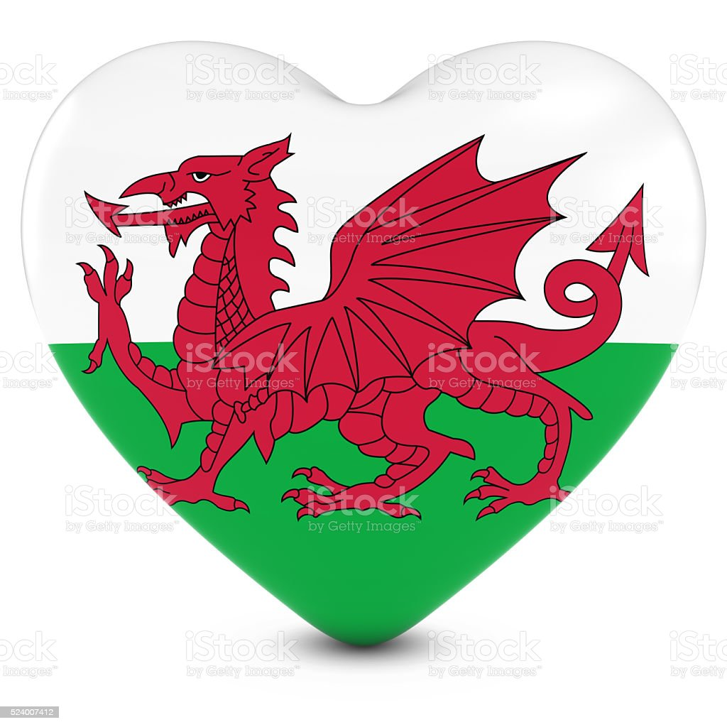 Love Wales Concept Image - Heart textured with Welsh Flag stock photo