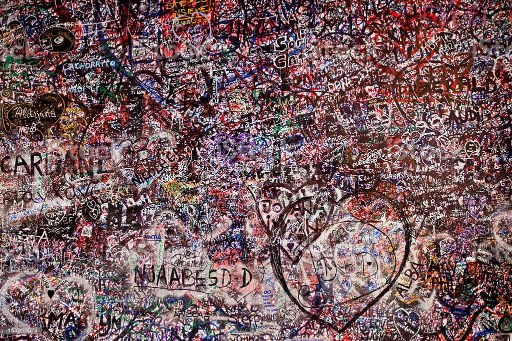 Love Wall at Juliet's House in Verona, Italy royalty-free stock photo