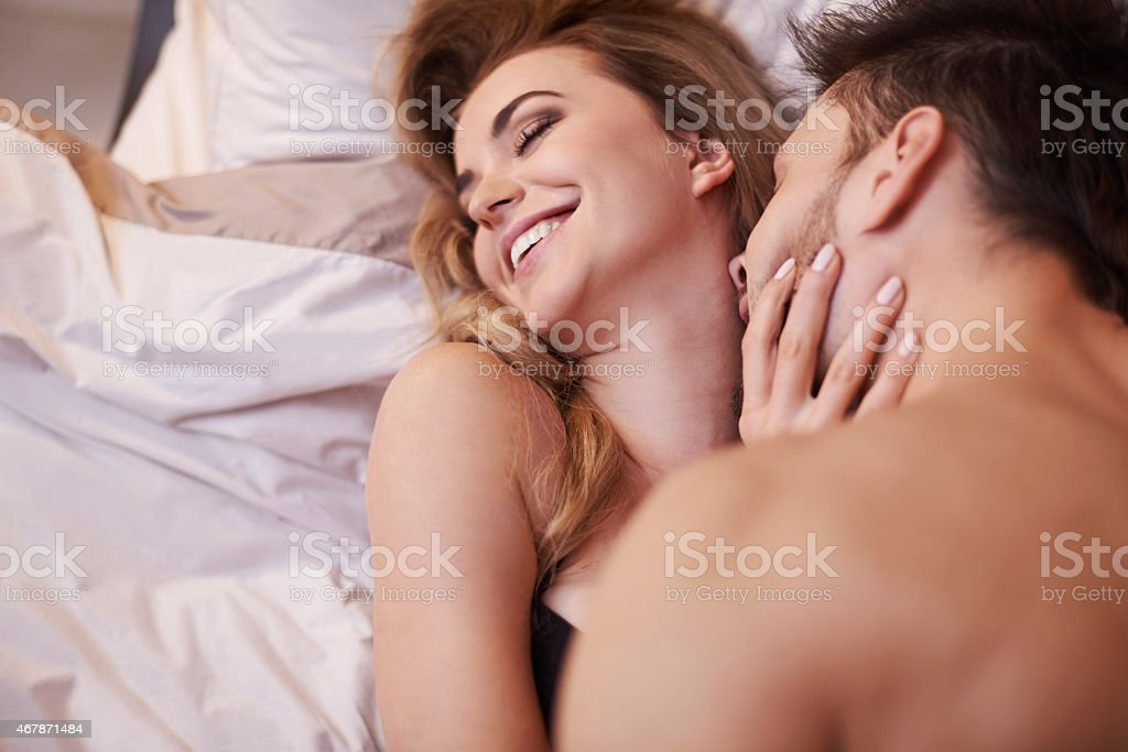 I love when he's kissing of me neck stock photo
