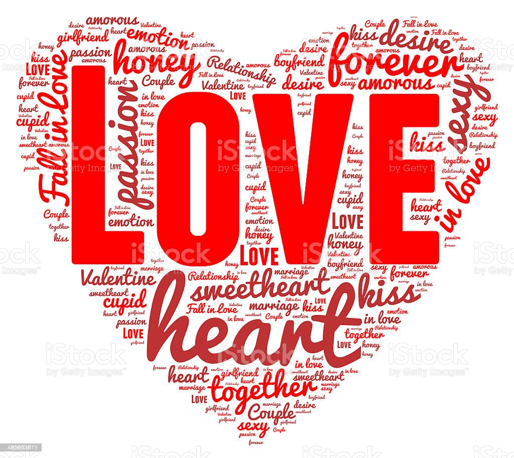 Love word cloud concept isolated stock photo