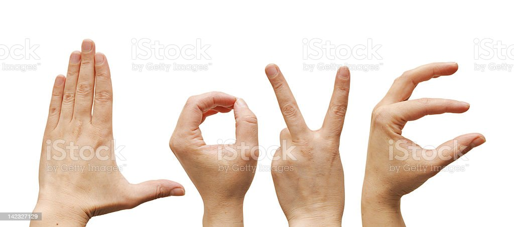 love word from human hands. Fingers showing royalty-free stock photo