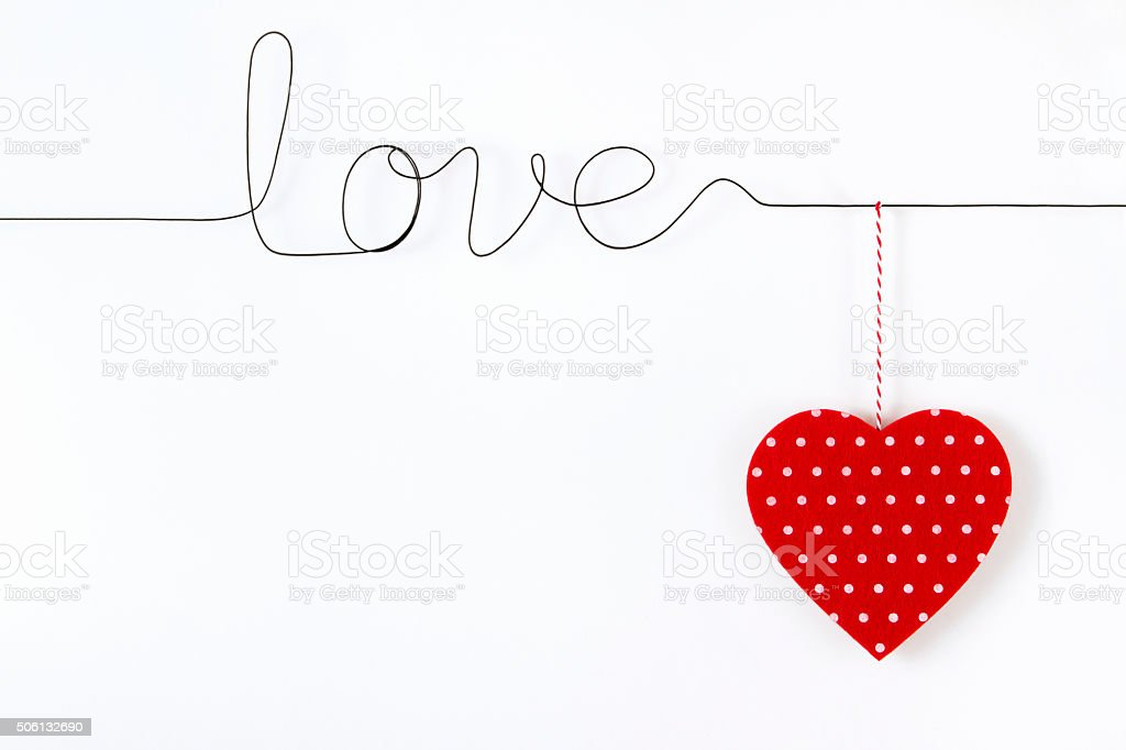 Love Word with Hanging Heart stock photo