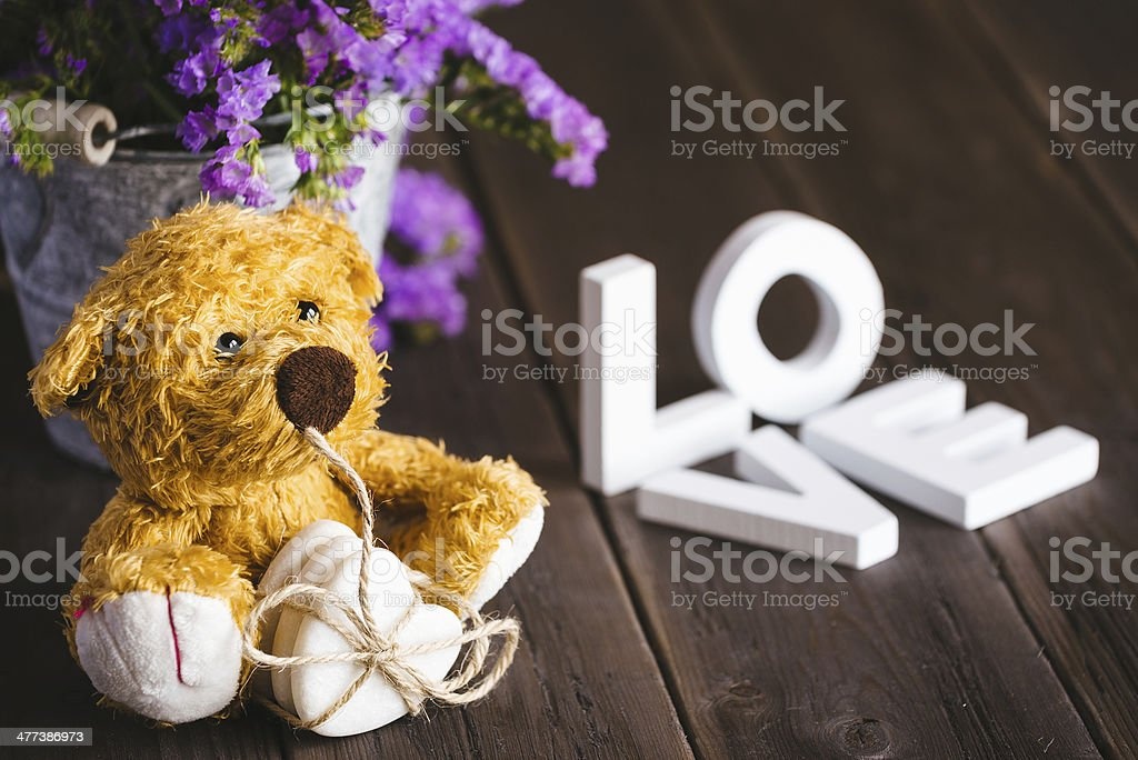 Liebe Text und teddy – Foto