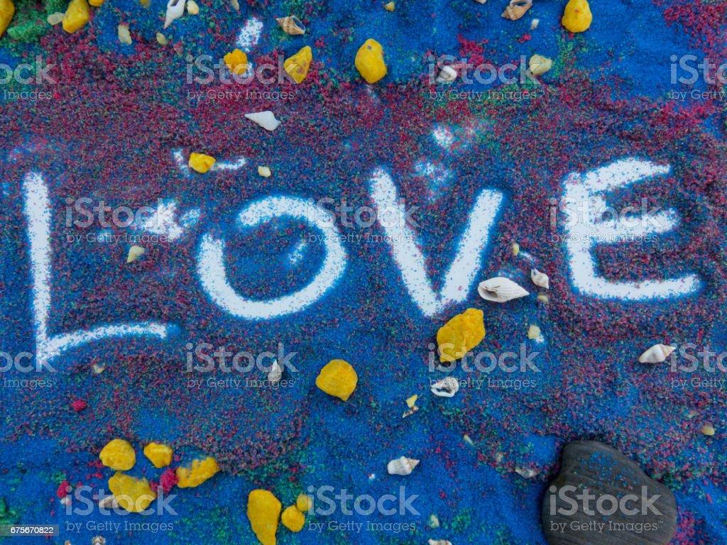 love written  in colors sand photo libre de droits