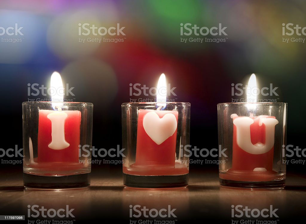 I Love You Candles royalty-free stock photo