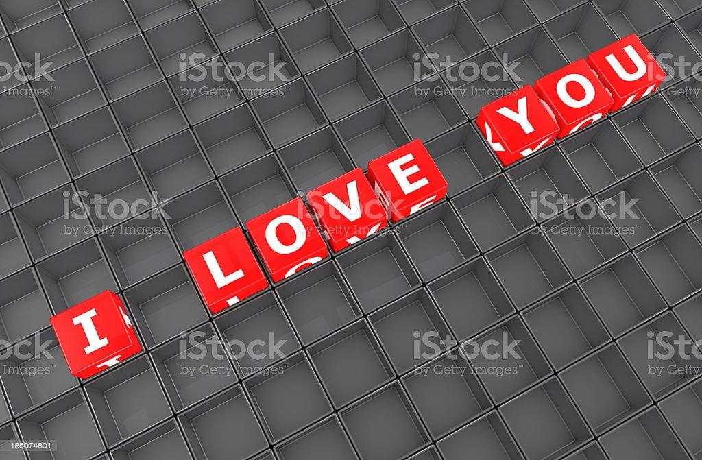 I Love You crossword in empty blocks royalty-free stock photo