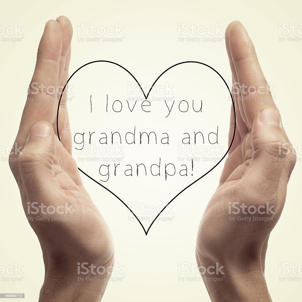 I love you grandma and grandpa stock photo