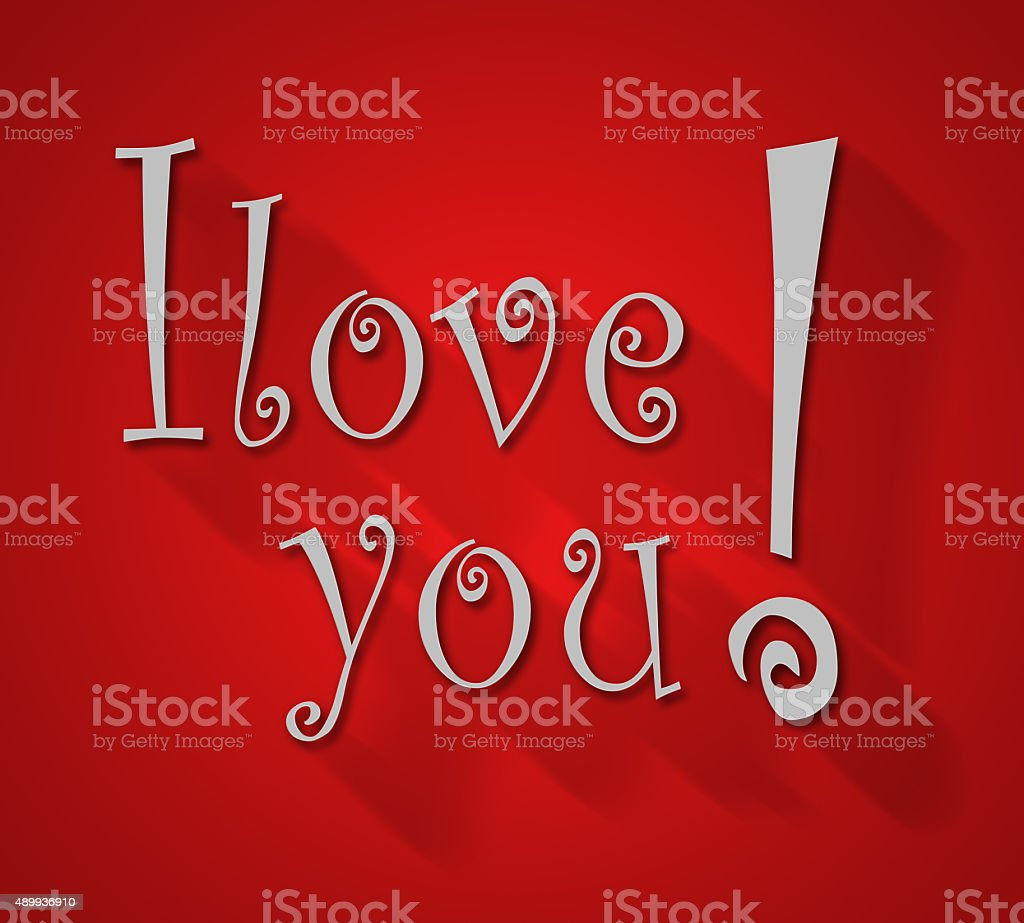 I Love You Hand lettering Greeting Card. stock photo