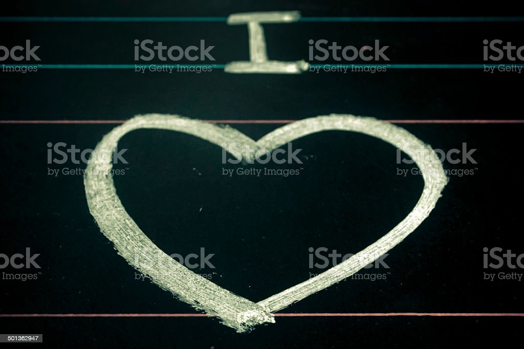 I Love You. Handwritten message on a chalkboard royalty-free stock photo