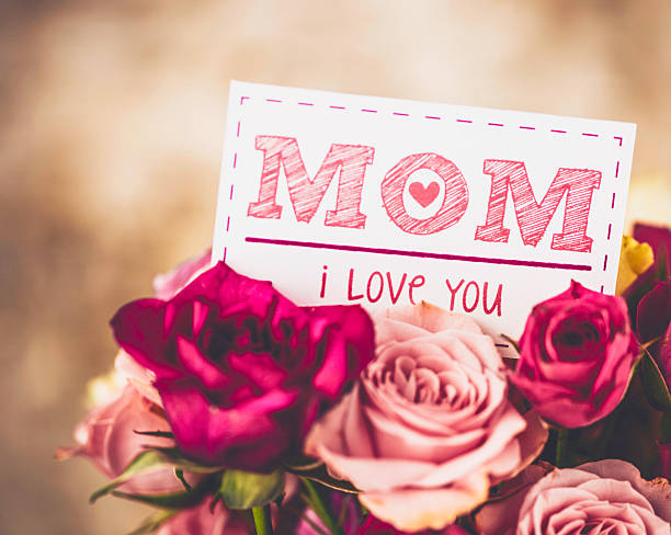 love you message for mom on mother's day with roses - i love you stock photos and pictures