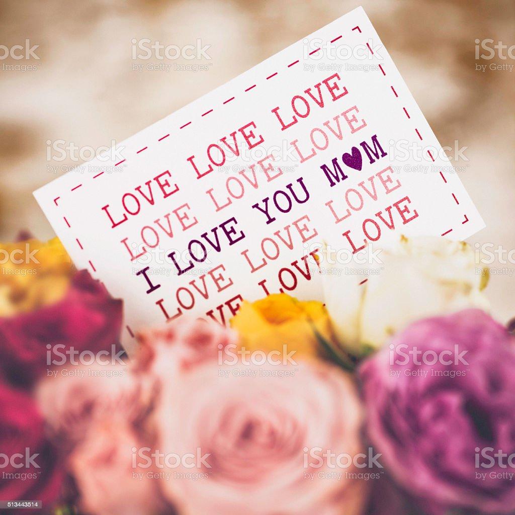 Amor Se Mensaje Para Mamá En El Día De La Madre Con Rosas