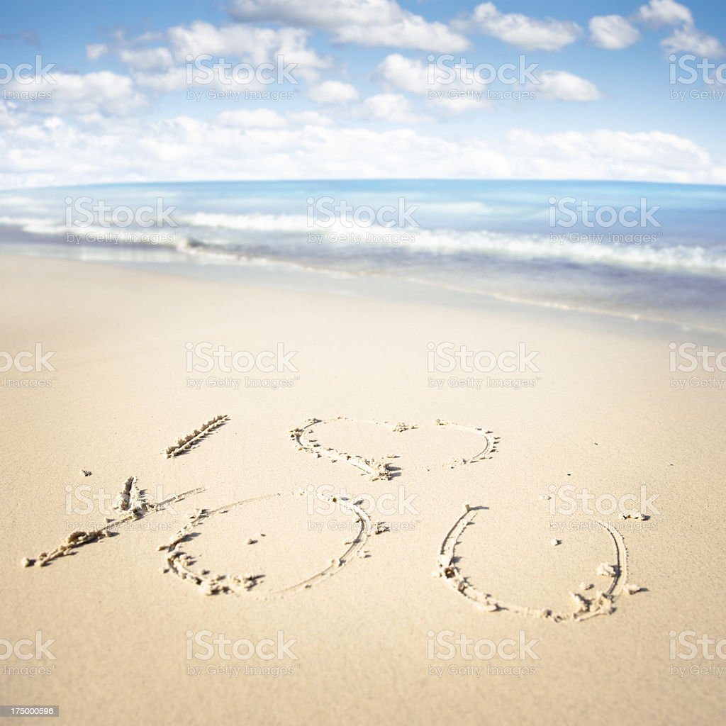 I love you message in the sand royalty-free stock photo