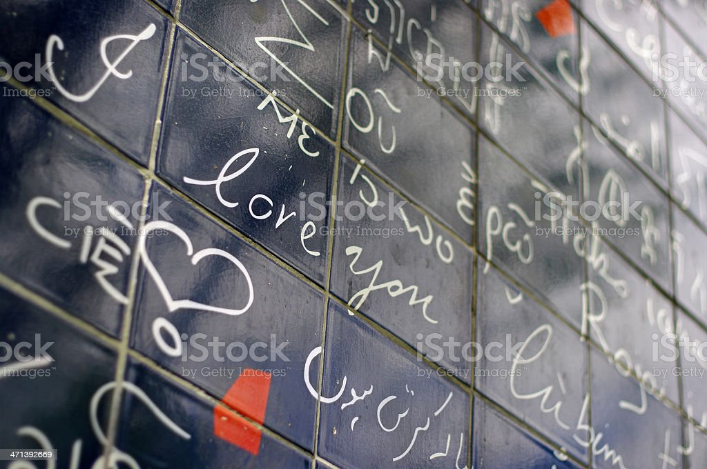 'I love you' message on a wall in Paris stock photo