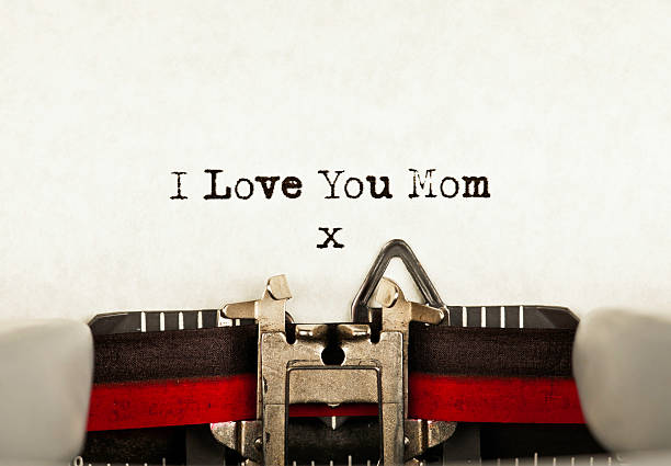 i love you mom - happy mothers day type stock photos and pictures