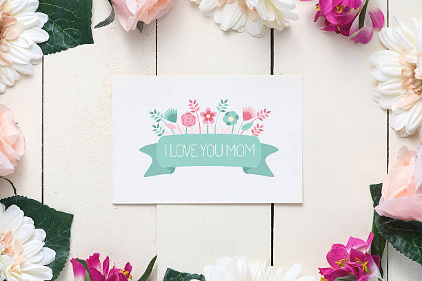 i love you mom - gift tag note stock photos and pictures