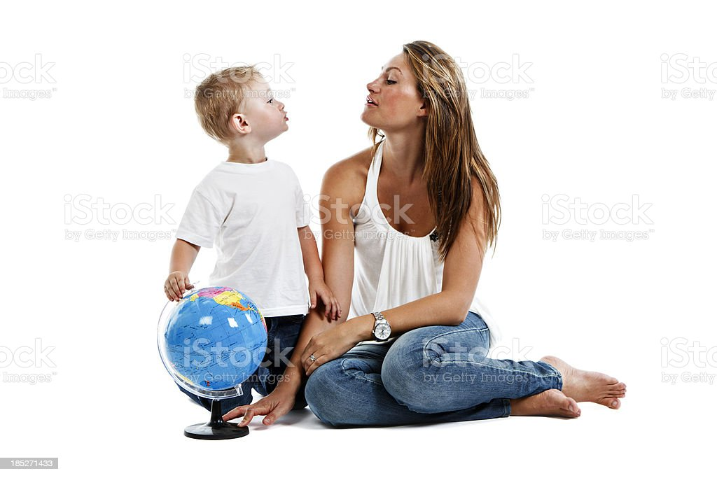 Love you Mum, me too son: affectionate family moment royalty-free stock photo