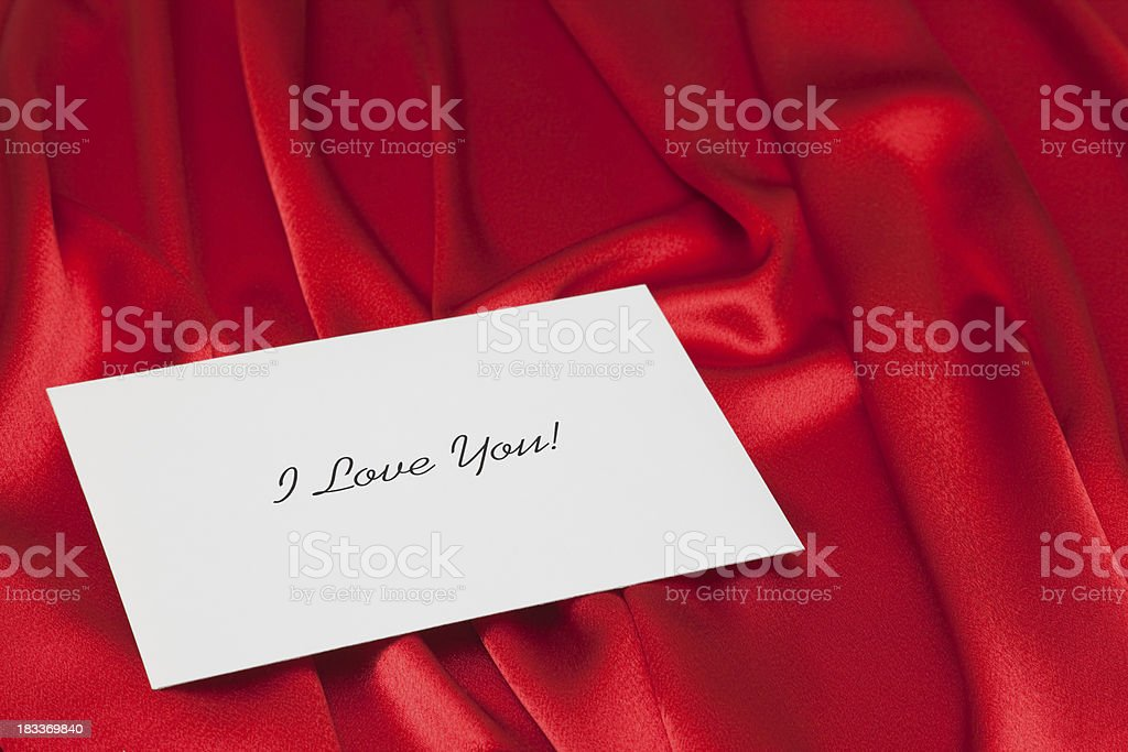 I Love You Note on Red Satin stock photo