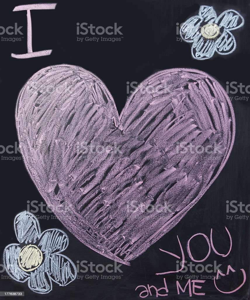 I love you on blackboard royalty-free stock photo
