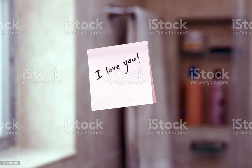 I Love you post it note stock photo