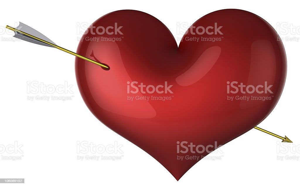 I Love You! Red heart shape hit by arrow stock photo