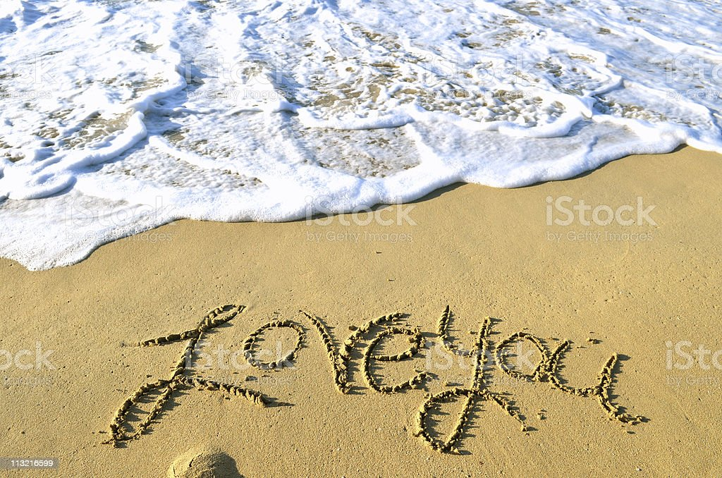 Love you sandy message royalty-free stock photo