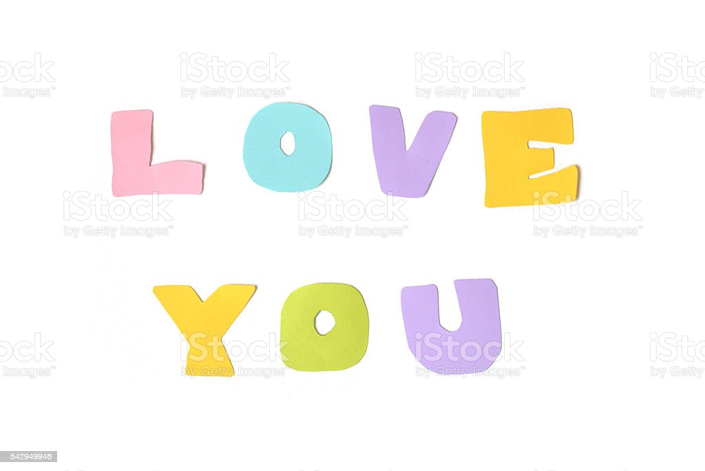 Love You Text On White Background Fotografie Stock E Altre