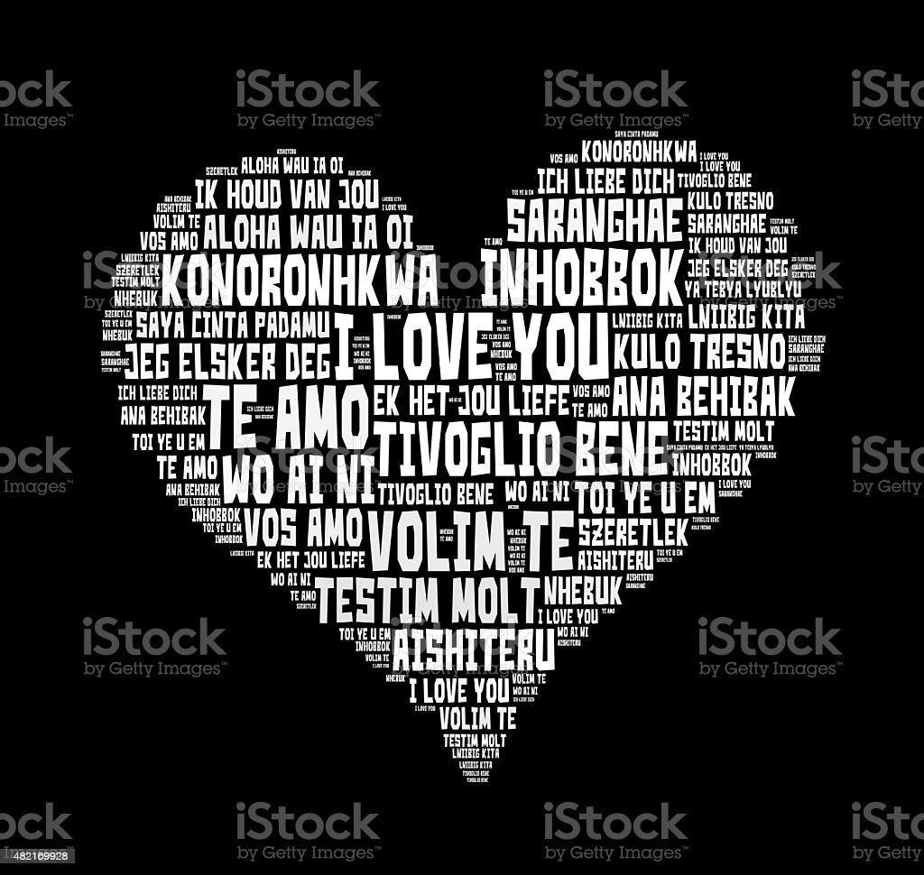 'I love you' words in different languages of the world stock photo