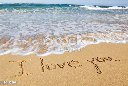 Fotografía De I Love You Escrito En La Arena De La Playa