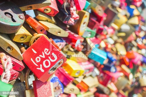 I love you written on padlock