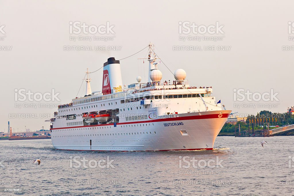 Loveboat on the river stock photo