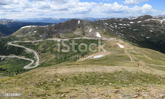 Spectacular Loveland Pass, 11,990 ft (3,655 m), on Route US 6, seen from a hiking trail towards Grizzly Peak.